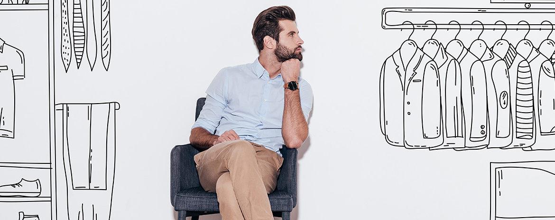 Man contemplating his furniture